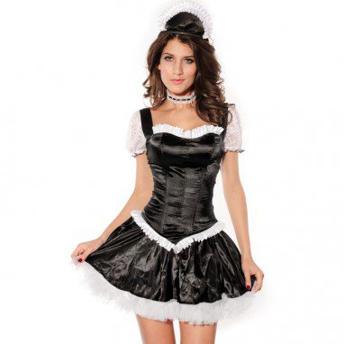 Europe and The United States Halloween Short - Sleeved Style Black Pompon Skirt Stage Fitted Sweet Maid Maid Game Uniforms Halloween Costume