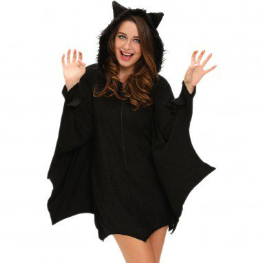 Europe and The United States Halloween Uniforms Black Bat Sexy Hooded Round Neck Long - Sleeved Seductive Stage Clothing Halloween Costume