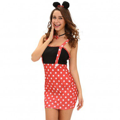 European and American Halloween Four - Piece Sexy Minnie Mouse Waist High with A Dot Stage Service Halloween Costume