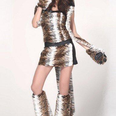Halloween - Sleeveless Fragment - Lion - Leopard - Fitted Multi - Piece Set Halloween Costume
