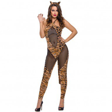 Halloween Costume Tiger Cat Animation Reality Show Tight Jumpsuit Show Stage Service