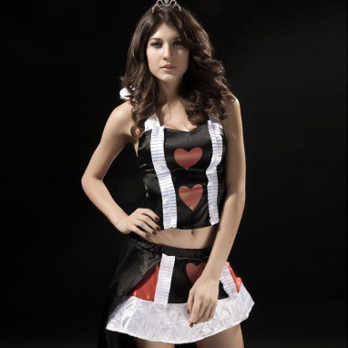 Halloween Europe and The United States Sleeveless Split Spades Heart Queen Uniforms Halloween Costume