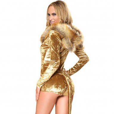 Halloween Make - Up Show Lion Hooded Long Sleeve One - Piece Dress Stage Halloween Costume