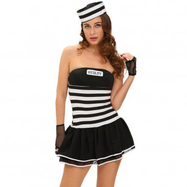 Halloween Role Playing Female Prisoners Sleeveless Black and White Stripes Sexy Stage Wear Halloween Costume