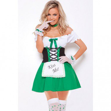 Halloween Sexy Irish Maid Stage Fitted Three - Piece Sexy Performance Costumes Halloween Costume
