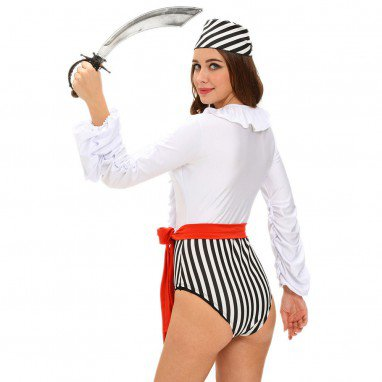 Hip - Side Long - Sleeved Performance Stage Installed Halloween Role - Playing Female Pirate Halloween Costume
