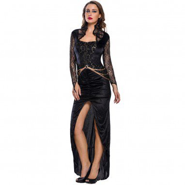 Long - Sleeved Collar Black Velvet High - Seam Fish - Tail Skirt Pendulum Split Deluxe Evil Queen Halloween Costume