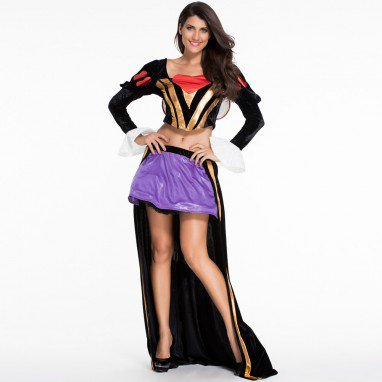Rugged Queen #39 S Lace - Sleeve Sexy Back Stretch Two - Piece Set Halloween Costume