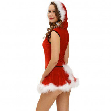 Christmas Hooded Sleeveless Detachable Skirt Christmas One - Piece Dress