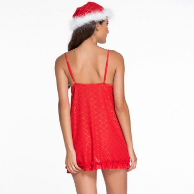 Europe and The United States Christmas Eve Red Sling Sleeveless V - Neck White Fluff Sexy Clothing
