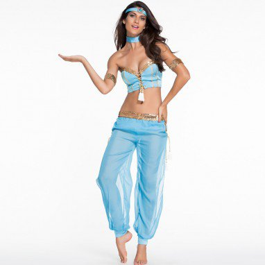 European Blue Sexy Belly Stage Role - Playing Uniform Halloween Costume