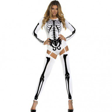 Sexy Long - Sleeved Three - Dimensional Pattern of Skeletal Dresses Stage Decoration Halloween Costume