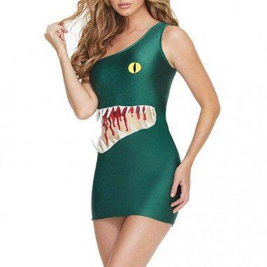 Sexy Shark Cartoon Reality Show Dress Shoulder - Length Self - Cultivation Uniform Dresses Halloween Costume
