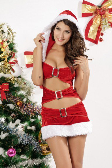 Sleeveless Christmas Hooded Red Christmas Dress