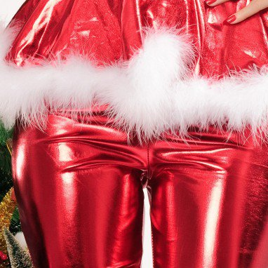 Winter Europe and The United States Pvc Bronzing Christmas Trousers Christmas Loaded Stage Uniforms Performance Uniforms