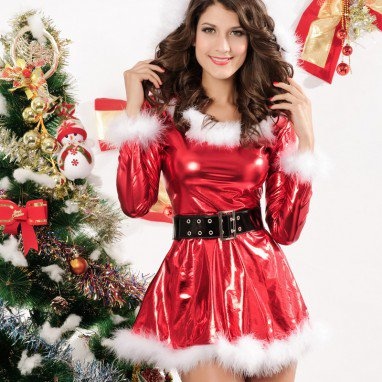 Winter I Pompon Long - Sleeved Style with Bronze Belt Imitation Rabbit Christmas Christmas Uniforms