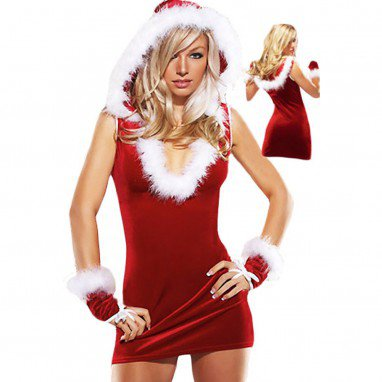 Europe and The United States Christmas Clothing Sleeveless Deep V Neck Hooded Sexy Stage Installed