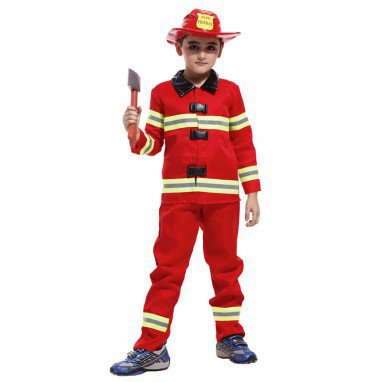 Halloween Costume Children Fireman Clothing Fire Apparel Stage Play Performance