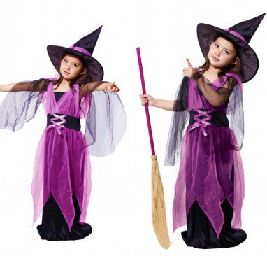 Halloween Costume Girl Child Makeup Witch Princess Dress