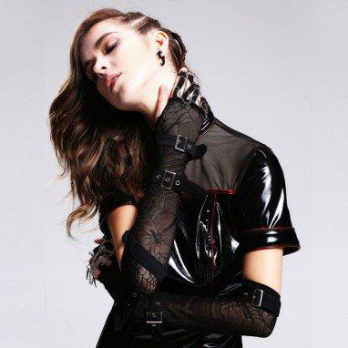 Magic Card Ride Steam Punk Gothic Hand Claw Spikes Pendant Spider Web Long Finger Glove Fashion