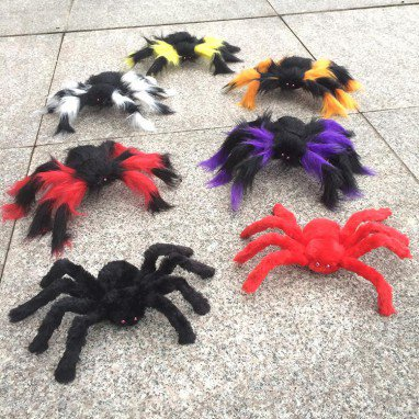 Halloween Costume Decorations Whole Man Simulation Black Plush Spider Flower Spider
