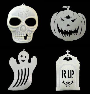Halloween Supplies Scene Arrangement Pumpkin Ghost Skull Tombstone Bats Hanging Window Walls