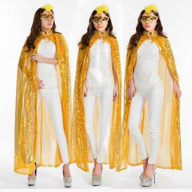 Halloween Costume Makeup Child Magician Witch Wizard Sequin Cloak Cloak
