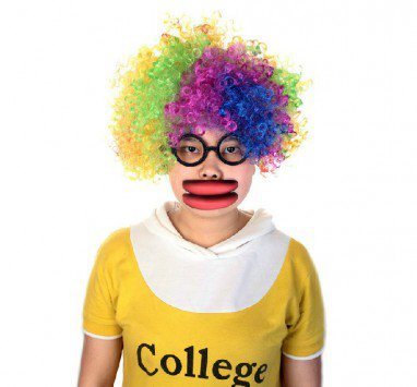 Halloween Fool Day Toys Whole Funny Big Mouth Red Lips Sausage Mouth Wig Glasses Set