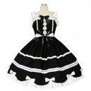 Supply Black And White Gothic Lolita Halloween Cosplay Dress