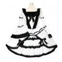 Supply Black And White Lace Trimmed Gothic Lolita Halloween Cosplay Dress