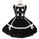 Supply Black And White Puff Sleeves Gothic Lolita Halloween Cosplay Dress