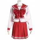Supply Red Long Sleeves Halloween Cosplay School Uniform