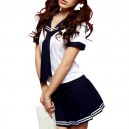 Supply Unusual White And Deep Blue School Uniform
