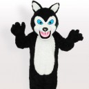 Supply Long Plush Black Wolf Adult Mascot Costume