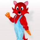 Supply Red Fox in Blue Bib Overalls Adult Mascot Costume