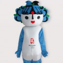 Fuwa Blue Short Plush Adult Mascot Costume