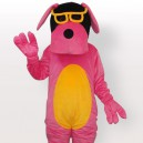 Supply Pink Dog with Yellow Belly and Glasses Adult Mascot Costume