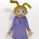 Supply Purple Sad Girl Short Plush Adult Mascot Costume