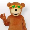 Glasses Wearing Bear Adult Mascot Costume