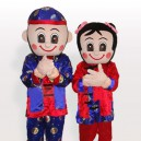 Smart Chinese Boy and Girl in Traditional Dress Adult Mascot Costume