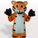Supply White Belly Tiger with Black Stripes Adult Mascot Costume