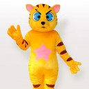 Yellow Blue Eye Tiger with Pink Pentacle on the Belly Adult Mascot Costume