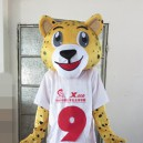 Supply Super Soccer Mascot Design Custom Clothing Walking Cartoon Dolls Dolls Show Props Leopard Mascot Costume