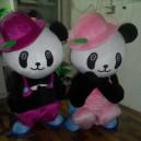 Supply 2014 Hottest Models Panda Dolls Props Cartoon Dolls Cartoon Clothing Green Hat David Mascot Costume