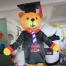 Cartoon Doll Clothing Walking Performance Film Props Black Dress and Tie Graduation Cap Dr. Bear Mascot Costume