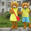 Supply Winnie The Pooh Cartoon Clothing Couple Walking Performance Costumes Adult Bear Yellow Vest Mascot Costume