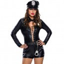 Supply European and American Halloween Role - Playing Women #39 S Police Long - Sleeved Single Body Clothing Stage Service Halloween Costume