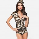 Supply Sexy Singer Short - Sleeved Military Green Coveralls Halloween Costume
