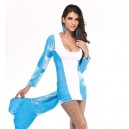 Blue - and - White Blended Undersea Beauty Shark Uniform Stage Halloween Costume