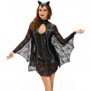 Supply European and American Halloween Black Dress High - Necked Lace Long Sleeve Sexy Bat - Stage Costume Halloween Costume
